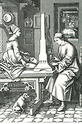 Man playing a portable organ while his wife operates the bellows. After an engraving by Israel van Mecken, German, late fifteenth century.