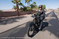 Kevin Waters of England riding his 1915 Sunbeam 3 1/2 hp Motor Bicycle during the Motorcycle Cannonball Race of the Century. Stage-13 ride from Williams, AZ to Lake Havasu CIty, AZ. USA. Friday September 23, 2016. Photography ©2016 Michael Lichter.