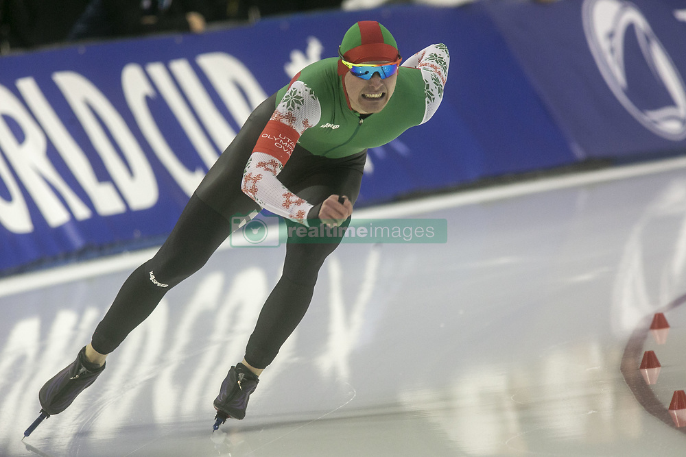 March 9, 2019 - Salt Lake City, Utah, USA - Ignat Golovatsiuk of Belarus competes in the mens 1000m speed skating finals at the ISU World Cup at the Olympic Oval in Salt Lake City, Utah. (Credit Image: © Natalie Behring/ZUMA Wire)