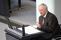 26.05.2011, Bundestag, Berlin, GER, Bundesfinanzminister Wolfgang Schäuble gibt am Freitag ab 8.30 Uhr eine Regierungserklärung zur Euro-Stabilität ab, an die sich eine Aussprache anschließt. Weitere Debatten: Gebäudesanierungen, Beziehungen zu Polen, Bund-Länder-Bildungskooperation sowie Kreislaufwirtschafts- und Abfallrecht., im Bild  Wolfgang Schäuble / Schaeuble ( CDU Bundesfinanzminister   EXPA Pictures © 2011, PhotoCredit: EXPA/ nph/  Hammes       ****** out of GER / SWE / CRO  / BEL ******
