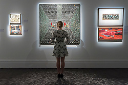 "© Licensed to London News Pictures. 20/04/2018. LONDON, UK. A staff member views (C) ""Recollections I"", 2008, by Monir Farmanfarmaian (Est. GBP160-200k) at a preview of works in Sotheby's 20th Century Middle East, Orientalist and Islamic upcoming art sales in New Bond Street.  The works will be sold at auction in the last week of April.    Photo credit: Stephen Chung/LNP"