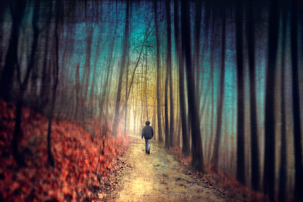 Man walking through a dreamy colourful forest. Manipulated photo.<br /> Licese this here: http://www.trevillion.com/search/previewmodal/man-in-woods-in-autumn/0_00066150.html
