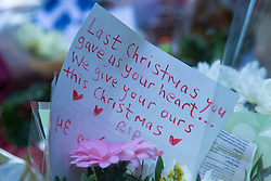 Highgate, London, December 26th 2016. Fans gather outside the London home of pop icon George Michael who died on Christmas day. PICTURED: A moving tribute from a fan.