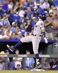 June 8, 2017 - Kansas City, MO, USA - The Houston Astros' Carlos Correa reaches third on a triple in the ninth inning against the Kansas City Royals at Kauffman Stadium in Kansas City, Mo., on Thursday, June 8, 2017. (Credit Image: © John Sleezer/TNS via ZUMA Wire)