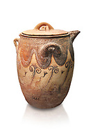 Minoan small bridge spouted jars decorated with lilies, Machlos 1500-1400 BC; Heraklion Archaeological  Museum, white background. .<br /> <br /> If you prefer to buy from our ALAMY PHOTO LIBRARY  Collection visit : https://www.alamy.com/portfolio/paul-williams-funkystock/minoan-art-artefacts.html . Type -   Heraklion   - into the LOWER SEARCH WITHIN GALLERY box. Refine search by adding background colour, place, museum etc<br /> <br /> Visit our MINOAN ART PHOTO COLLECTIONS for more photos to download  as wall art prints https://funkystock.photoshelter.com/gallery-collection/Ancient-Minoans-Art-Artefacts-Antiquities-Historic-Places-Pictures-Images-of/C0000ricT2SU_M9w