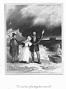 Transportation: Convict in chains bidding farewel, perhaps for every, before being rowed out to join the convict ship bound for Australia, parts of which Britain used as a penal colony. Engraving published c1830.