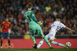 March 23, 2019 - Valencia, Valencia, Spain - David De Gea of Spain  and Tarik Elyounoussi of Norway battle for the ball during the 2020 UEFA European Championships group F qualifying match between Spain and Norway at Estadi de Mestalla on March 23, 2019 in Valencia, Spain. (Credit Image: © Jose Breton/NurPhoto via ZUMA Press)