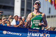 Richard Murray from Durbanville, Cape Town wins the 2017 Discovery Triathlon World Cup Cape Town. Image by Greg Beadle