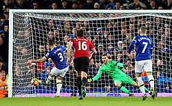 Leighton Baines of Everton scores a late penalty past David De Gea of Manchester United - Mandatory by-line: Matt McNulty/JMP - 04/12/2016 - FOOTBALL - Goodison Park - Liverpool, England - Everton v Manchester United - Premier League