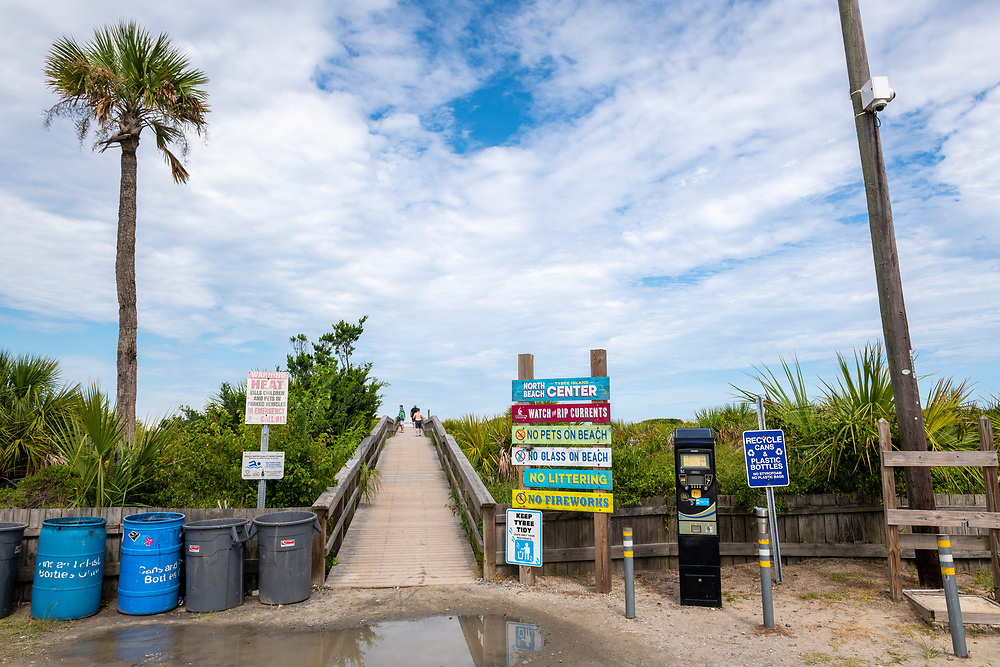 Tybee Island, Georgia, USA - July 28, 2021: Access ramp to North Beach on Tybee Island, located on the coast of Georgia near Savannah.