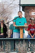 Bar Harbor, USA. 29 April, 2017. Bo Greene of Indivisible MDI addresses the crowd at the Downeast Climate March.