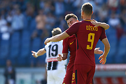 September 23, 2017 - Rome, Italy - Stephan El Shaarawy and Edin Dzeko of Roma celebration during the Italian Serie A football match between AS Roma and Udinese on September 23, 2017 at the Olympic stadium in Rome. (Credit Image: © Matteo Ciambelli/NurPhoto via ZUMA Press)