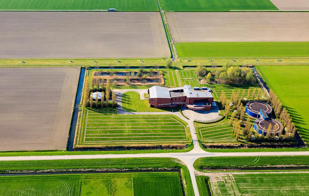 Nederland, Flevoland, Zeewolde, 01-05-2013; drinkwaterbedrijf Vitens aan de Ossenkampweg in de polder.<br /> Office building and drinking water storage of drinking water company Vitens in the middle of the polder Flevoland.  <br /> luchtfoto (toeslag op standard tarieven);<br /> aerial photo (additional fee required);<br /> copyright foto/photo Siebe Swart