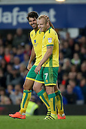 GOAL/CELE  : Steven Naismith of Norwich City (r) celebrates with teammate Nelson Oliveira after scoring his teams 1st goal. EFL Cup, 3rd round match, Everton v Norwich city at Goodison Park in Liverpool, Merseyside on Tuesday 20th September 2016.<br /> pic by Chris Stading, Andrew Orchard sports photography.