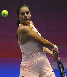 February 3, 2018 - Saint Petersburg, Russia - Daria Kasatkina of Russia returns the ball to Kristina Mladenovic of France during the St. Petersburg Ladies Trophy ATP tennis tournament semi final match in St. Petersburg  (Credit Image: © Igor Russak/NurPhoto via ZUMA Press)