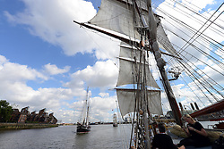 © Licensed to London News Pictures. 30/08/2013. London, UK. Tall Ships on The Thames at Greenwich, with The Cutty Sark in view,  marking one year until The Tall Ship Regatta, Falmouth to Greenwich in August 2014. Here Tall Ship The Iris is seen from Tall Ship Morgenster. Photo credit: Mike King/LNP