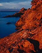 Matia Island, evening light, Mount Baker in the distance, San Juan Islands Wilderness, Washington, USA
