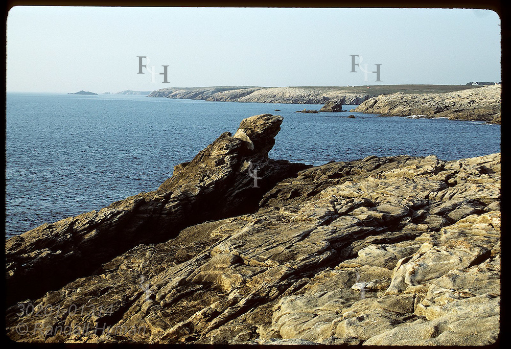 Rugged coastline, Cote Sauvage, near town of Quiberon in the Morbihan of Brittany. France