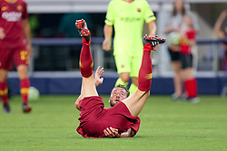 July 31, 2018 - Arlington, TX, U.S. - ARLINGTON, TX - JULY 31: AS Roma midfielder Bryan Cristante (4) rolls onto his back after scoring a goal during the International Champions Cup between FC Barcelona and AS Roma on July 31, 2018 at AT&T Stadium in Arlington, TX.  (Photo by Andrew Dieb/Icon Sportswire) (Credit Image: © Andrew Dieb/Icon SMI via ZUMA Press)