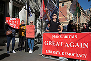 Pro-leave protesters outside The Supreme Court as the first day of the hearing to rule on the legality of suspending or proroguing Parliament begins on September 17th 2019 in London, United Kingdom. The ruling will be made by 11 judges in the coming days to determine if the action of Prime Minister Boris Johnson to suspend parliament and his advice to do so given to the Queen was unlawful.