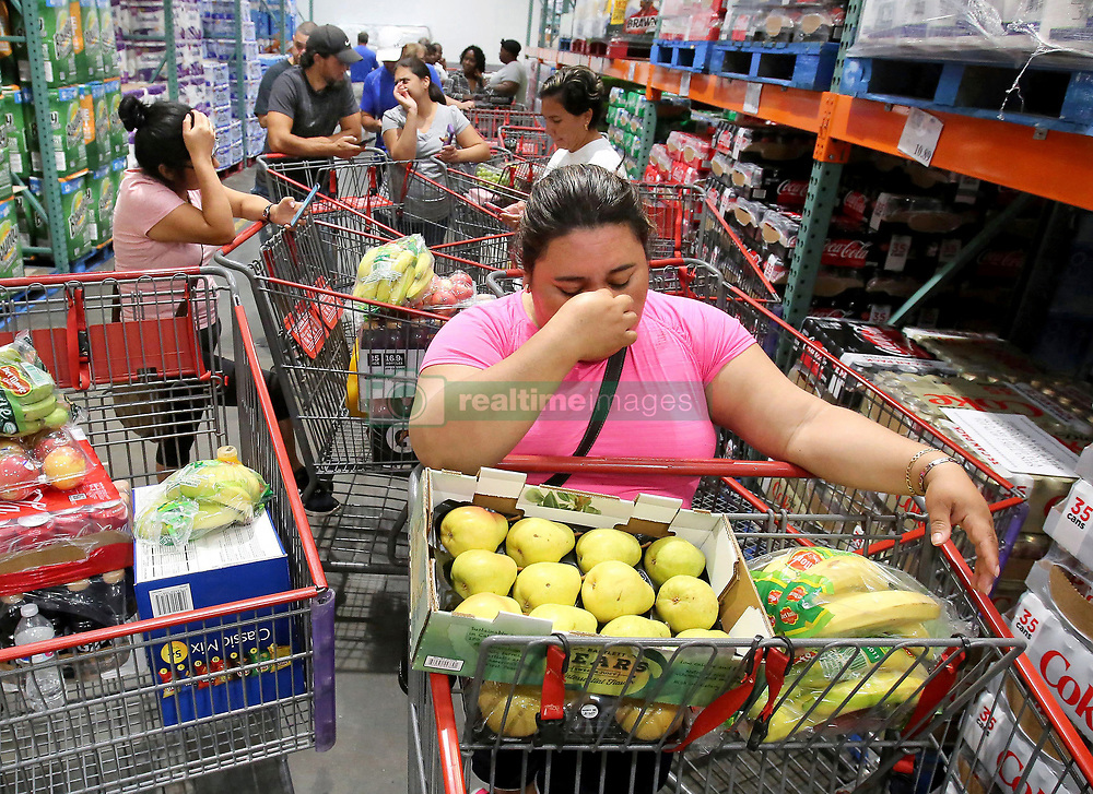 Shoppers at Costco in Altamonte Springs, FL, USA., wait in line for the arrival of a shipment of water during preparations for the impending arrival of Hurricane Irma on Wednesday, September 6, 2017. These residents waited in line starting at 7 a.m. for an 11 a.m. water delivery. Photo by Joe Burbank/Orlando Sentinel/TNS/ABACAPRESS.COM