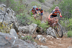 WORCESTER, SOUTH AFRICA - MARCH 21: The UCI Elite Women, from front, Annika Langvad, Kate Courtney, Ariane Luthi and Githa Michiels during stage three's 122km from Robertson to Worcester on March 21, 2018 in Cape Town, South Africa. Mountain bikers from across South Africa and internationally gather to compete in the 2018 ABSA Cape Epic, racing 8 days and 658km across the Western Cape with an accumulated 13 530m of climbing ascent, often referred to as the 'untamed race' the Cape Epic is said to be the toughest mountain bike event in the world. (Photo by Dino Lloyd)