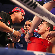NEW ORLEANS, LA - JULY 14:  Adrian Young fights Erick DeLeon during the Regis Prograis v Juan Jose Velasco ESPN boxing match at the UNO Lakefront Arena on July 14, 2018 in New Orleans, Louisiana.  (Photo by Alex Menendez/Getty Images) *** Local Caption *** Adrian Young; Erick DeLeon