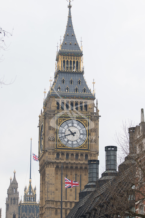 Westminster, London, March 23rd 2017. Flags fly at half-mast as investigations continue following Tuesday's terrorist attack on Westminster Bridge and in the grounds of Parliament, in which four people and their attacker were killed with over 40 injured.