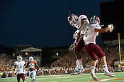 AUSTIN, TX - AUGUST 31: Joshua Bowen #6 of the New Mexico State Aggies celebrates after scoring a touchdown against the University of Texas Longhorns on August 31, 2013 at Darrell K Royal-Texas Memorial Stadium in Austin, Texas.  (Photo by Cooper Neill/Getty Images) *** Local Caption *** Joshua Bowen