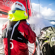 Leg 7 from Auckland to Itajai, day 11 on board MAPFRE, Surfing the southern ocean, Rob Greenhalgh at the helm, 28 March, 2018.