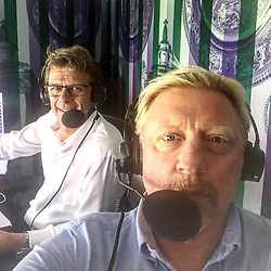 """Boris Becker releases a photo on Instagram with the following caption: """"Great to be back behind the mic \ud83c\udfa4 together with #andrewcastle for the @bbcsport @wimbledon"""". Photo Credit: Instagram *** No USA Distribution *** For Editorial Use Only *** Not to be Published in Books or Photo Books ***  Please note: Fees charged by the agency are for the agency's services only, and do not, nor are they intended to, convey to the user any ownership of Copyright or License in the material. The agency does not claim any ownership including but not limited to Copyright or License in the attached material. By publishing this material you expressly agree to indemnify and to hold the agency and its directors, shareholders and employees harmless from any loss, claims, damages, demands, expenses (including legal fees), or any causes of action or allegation against the agency arising out of or connected in any way with publication of the material."""