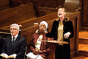 "14 April 2012-Santa Barbara, CA: ""Amazing Grace"", Jan Ingram.  Babatunde Folayemi Memorial Service at First United Methodist Church, 305 East Anapamu Street, Santa Barbara, CA. Family and friends gathered immediately following the service for refreshments and sharing in the Fellowship Hall of the church.Artist, Youth advocate, community leader, and former Santa Barbara City Council Member Babatunde Folayemi passed away on Wednesday, March 28, peacefully at home. He was 71, and is survived by his wife Akivah Northern, Cinque Folayemi Northern his son, several nieces and nephews, as well as grand-nieces and grand-nephews. He is also survived by his wifes Aunt Bea (Vivian Scarbrough), who is 105 years old. Photo by Rod Rolle"