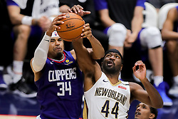 October 23, 2018 - New Orleans, LA, U.S. - NEW ORLEANS, LA - OCTOBER 23:  New Orleans Pelicans forward Solomon Hill (44) fights for a rebound against LA Clippers forward Tobias Harris (34) on October 23, 2018, at Smoothie King Center in New Orleans, LA. (Photo by Stephen Lew/Icon Sportswire) (Credit Image: © Stephen Lew/Icon SMI via ZUMA Press)