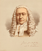 'Alexander James Edward Cockburn (1802-1880) Scottish lawyer,  Liberal politician and judge , Member of Parliament for Southampton 1847-1857, Lord Chief Justice of England 1875-1880. Tinted lithograph c1880.'