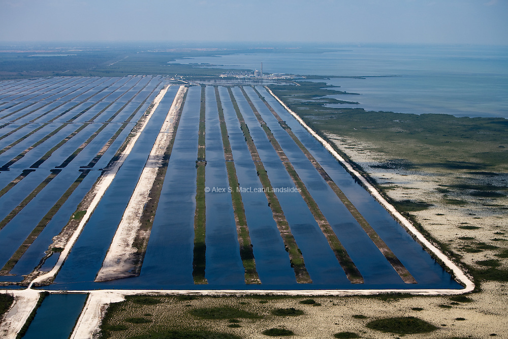 Turkey Point cooling canals.  Nuclear generators give off most of their fuel's energy as wasted heat.