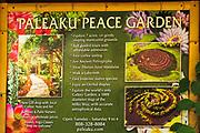 Paleaku Peace Garden sign, Captain Cook, The Big Island, Hawaii USA
