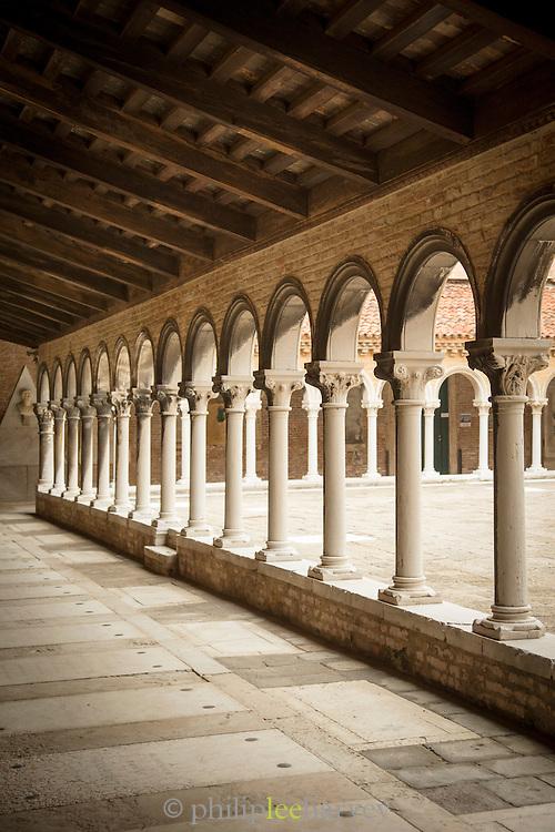 Courtyard in the cemetery on San Michele island, Venetian Lagoon, Venice Italy, Europe