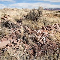 021913       Brian Leddy<br /> Remnants of a crumbling wall are all thats left of a complex of Anasazi ruins at Fort Wingate. The structure stood atop a mesa and offered panoramic view of the area.