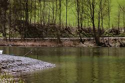THEMENBILD - eine ausgeworfene Fischerrute am Ufer des Klammsees, aufgenommen am 19. April 2019, Kaprun, Österreich // an ejected fishing rod on the shore of the Klammsee lake on 2019/04/19, Kaprun, Austria. EXPA Pictures © 2019, PhotoCredit: EXPA/ Stefanie Oberhauser