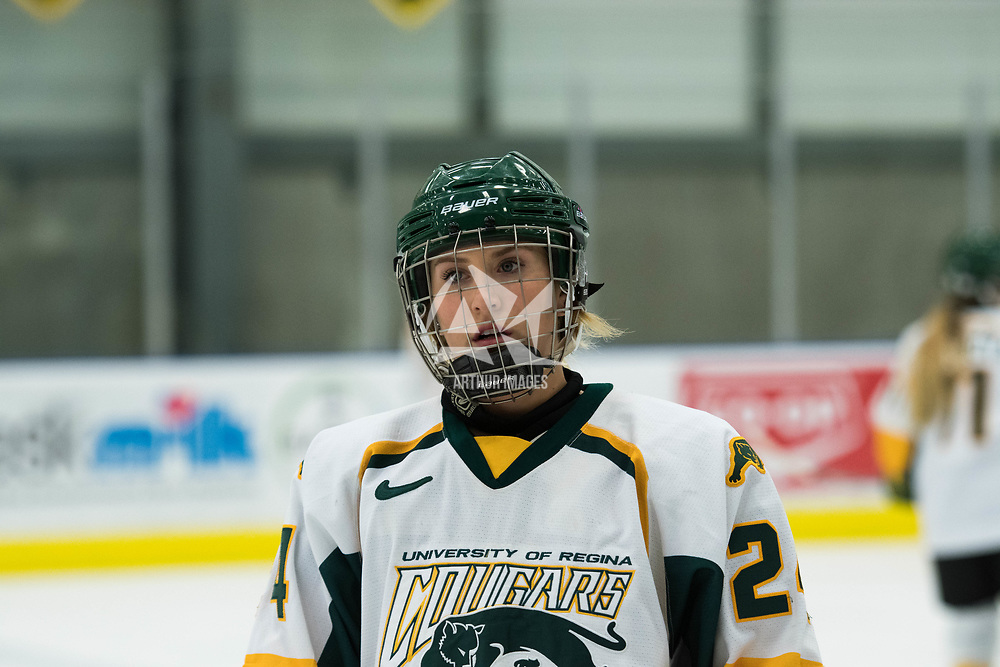2nd year forward Merissa Zerr (24) of the Regina Cougars in action during the Women's Hockey home game on October 13 at Co-operators arena. Credit: Arthur Ward/Arthur Images