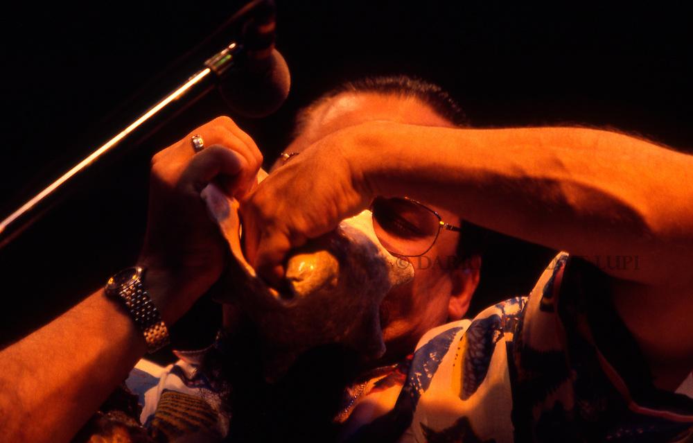 Steve Turre (McCoy Tyner and the Latin Allstars), 1998<br /> Photo by Darrin Zammit Lupi