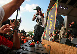 25 April 2014. New Orleans, Louisiana.<br /> Flavor Flav of Public Enemy plays the New Orleans Jazz and Heritage Festival.  <br /> Photo; Charlie Varley/varleypix.com