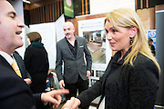Joe Golden and Yvonne Faherty from Moycullen Woodworks Damien English TD, Minister of State at the Department of Jobs, Enterprise & Innovationat the annual SCCUL Enterprise Awards prize giving ceremony and business expo which was hosted by NUI Galway in the Bailey Allen Hall, NUIG. Photo:Andrew Downes