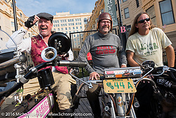 Scott Byrd (L) of Arkansas on his 1916 Harley-Davidson next to Harley-Davidson Museum Archive Restorer/Conservator Bill Rodencal (M) of Wisconsin on his 1915 Harley-Davidson and Doug Wothke of Alabama on his 1916 Indian on the Atlantic City boardwalk at the start of the Motorcycle Cannonball Race of the Century. Stage-1 from Atlantic City, NJ to York, PA. USA. Saturday September 10, 2016. Photography ©2016 Michael Lichter.