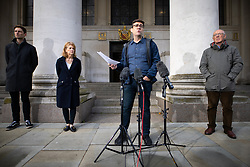© Licensed to London News Pictures. 15/10/2020. Manchester, UK. Leader of Oldham Council Sean Fielding , Manchester Metro Mayor Andy Burnham , Deputy Mayor Bev Hughes and Sir Richard Leese hold a press conference in front of Manchester Central Library in St Peter's Square , central Manchester , as negotiations continue regarding placing the city on a Tier 3 lockdown, closing pubs and limiting the ways in which households can mix, in order to reduce the spread of Coronavirus . Photo credit: Joel Goodman/LNP