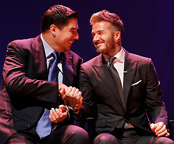 David Beckham, right, is all smiles as the deal is sealed during the announcement of the new Miami MSL team on Monday, January 29, 2018 inside the Knight Concert Hall at The Adrienne Arsht Center in Miami, FL, USA. Photo by Carl Juste/Miami Herald/TNS/ABACAPRESS.COM