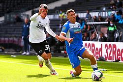 Jason Knight of Derby County puts pressure on Lewis Hardcastle of Barrow - Mandatory by-line: Ryan Crockett/JMP - 05/09/2020 - FOOTBALL - Pride Park Stadium - Derby, England - Derby County v Barrow - Carabao Cup