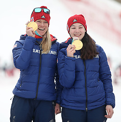 Great Britain's Menna Fitzpatrick (right) with her guide Jennifer Kehoe (left) celebrate gold in the Women's Slalom, Visually Impaired at the Jeongseon Alpine Centre during day nine of the PyeongChang 2018 Winter Paralympics in South Korea.