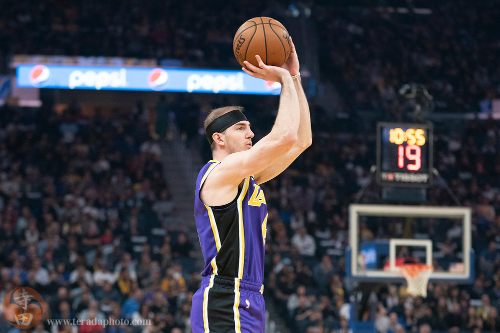 February 27, 2020; San Francisco, California, USA; Los Angeles Lakers guard Alex Caruso (4) shoots the basketball during the second quarter against the Golden State Warriors at Chase Center.