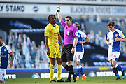 Referee Peter Bankes shows Wycombe Wanderers defender Darius Charles (21) the red card during the EFL Sky Bet Championship match between Blackburn Rovers and Wycombe Wanderers at Ewood Park, Blackburn, England on 19 September 2020.